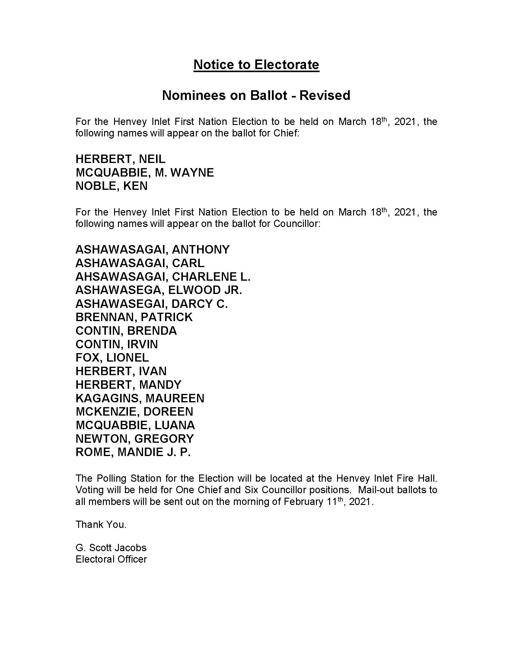 Posted Nominee Notice